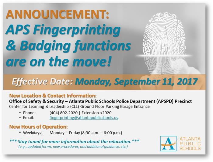 APS Fingerprinting & Badging Functions Are On the Move!