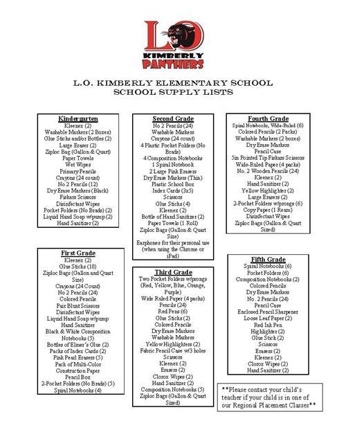Parent Resources / School Supply List