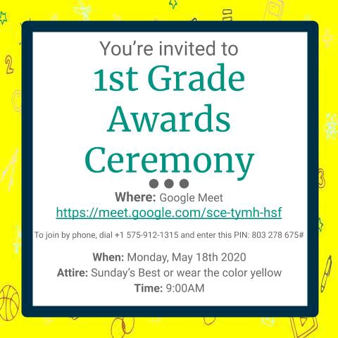 In Case you Missed it ....1ST Grade Virtual AWARDS Day!