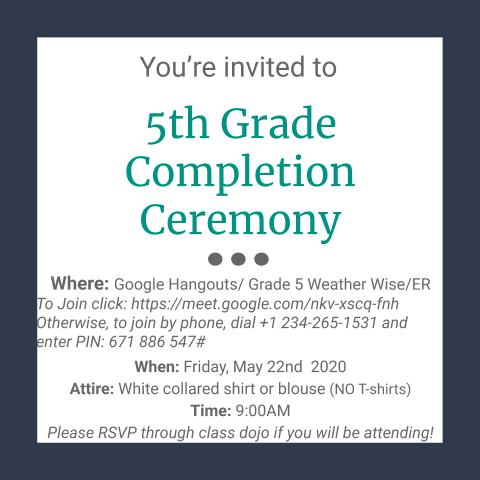 In Case you Missed it - 5th Grade Virtual Completion Day!