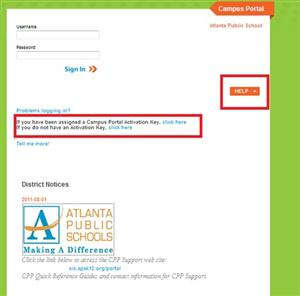 Activating your Campus Portal Account screen