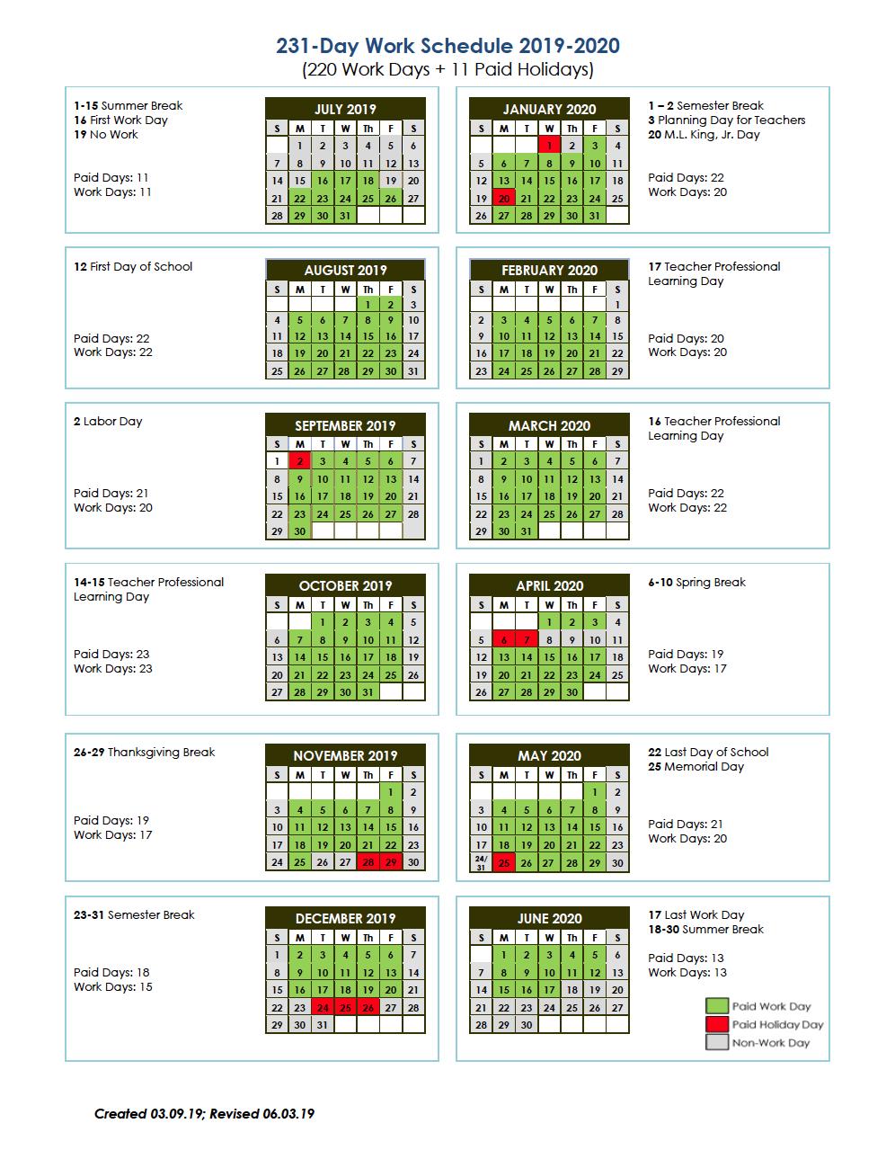 231-Day Work Schedule