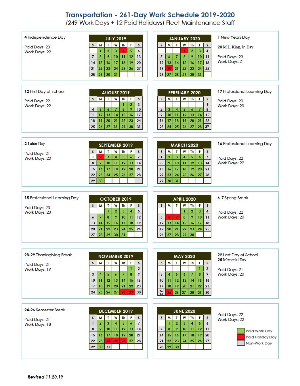 Transportation 261-Day Work Schedule