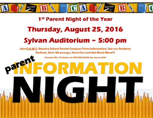 Parent Night!! Aug. 25th!