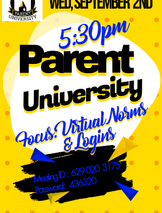 PARENT UNIVERSITY- Sept. 2nd @ 5:30