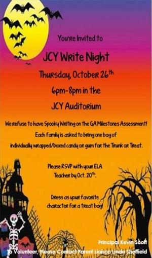 Write Night October 26th (flyer here)