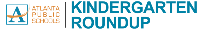 Kindergarten Roundup text with Atlanta Public Schools logo