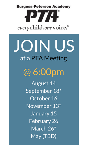 PTA Meetings 2018-2019 School Year