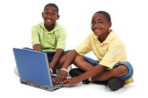 Two African American Boys with Computer