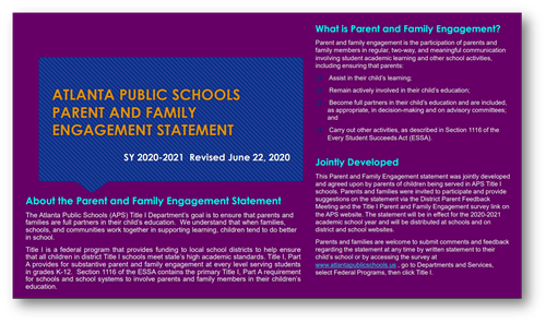 APS Family Engagement Plan